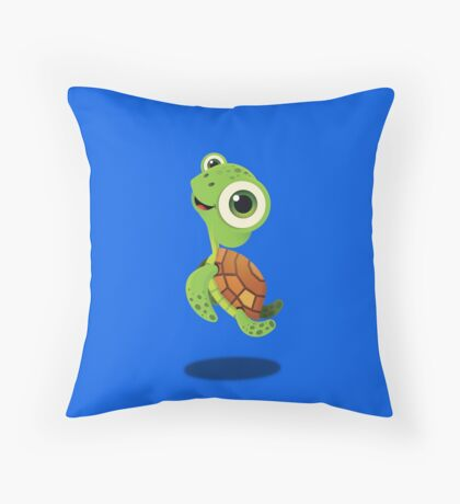 """Bubble Heroes - Stu the Turtle """"Cheer"""" Edition Throw Pillow"""