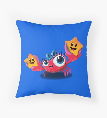 "Bubble Heroes - Kara the Crab ""Starfish"" Edition Throw Pillow"