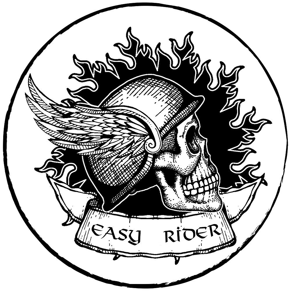 Easy Rider Black Skull with Helmet Wings by AmorOmniaVincit