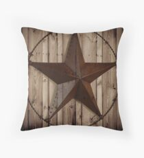 primitive western country barn wood grunge texas star  Throw Pillow