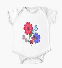 Abstract Butterflies with Flowers (Blue) One Piece - Short Sleeve