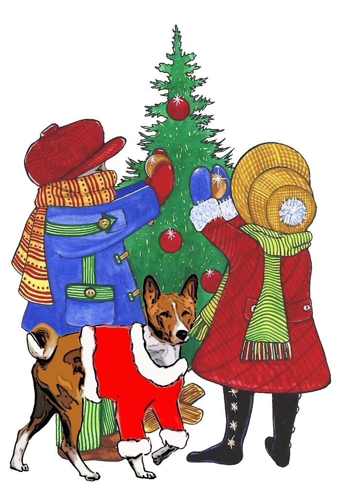 Christmas themed Basenji and children by IowaArtist