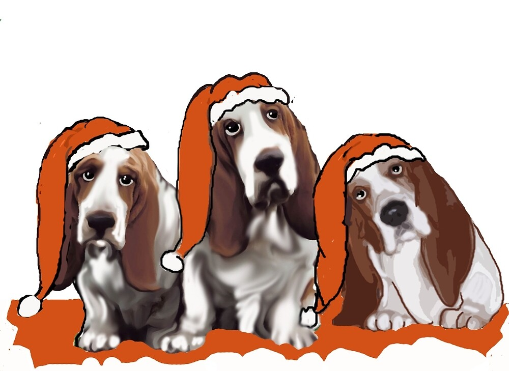 Adorable basset hounds in Santa Hats by IowaArtist