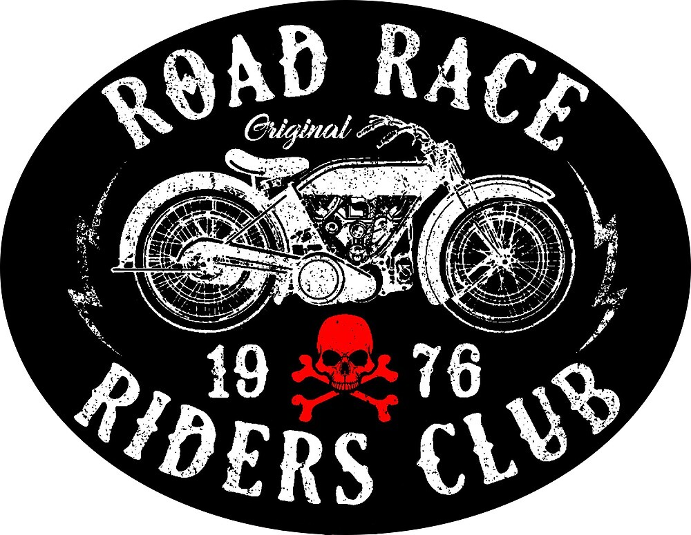 Road Rice Motorcycle Emblem with Red Human Skull and Bones by AmorOmniaVincit