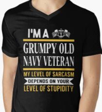 i'm a grumpy old navy veteran my level of sarcasm depends on your level t-shirts Men's V-Neck T-Shirt