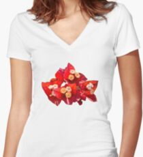 Red Bougainvillea Women's Fitted V-Neck T-Shirt