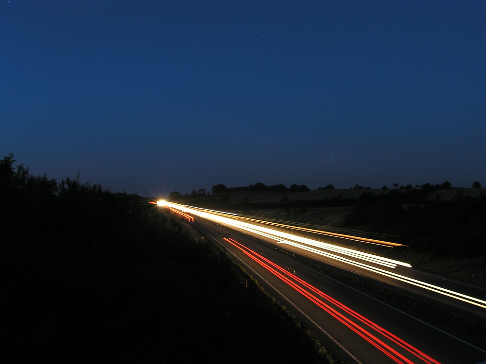 Light trails on the A14 by owenbaker