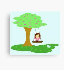 Cat and the Cat play in the swing Canvas Print