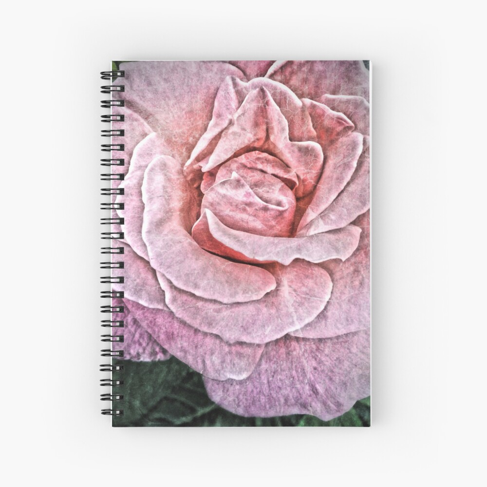 Pink Flower - Cracked Pink Rose Photography Spiral Notebook