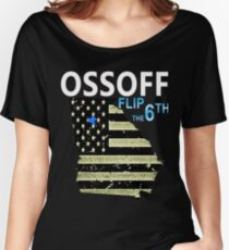 Ossoff Flag and District flip the 6th Women's Relaxed Fit T-Shirt