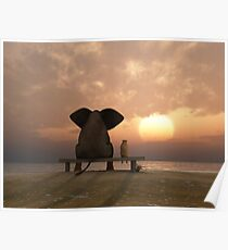 Elephant and Dog Friends Poster