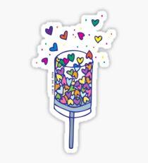 Rainbow Love Party Popper Sticker