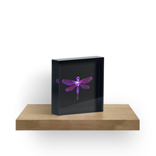 'Purple Dragonfly' Acrylic Block