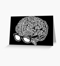 Brain with Glasses Greeting Card