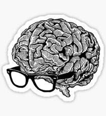 Brain with Glasses Sticker