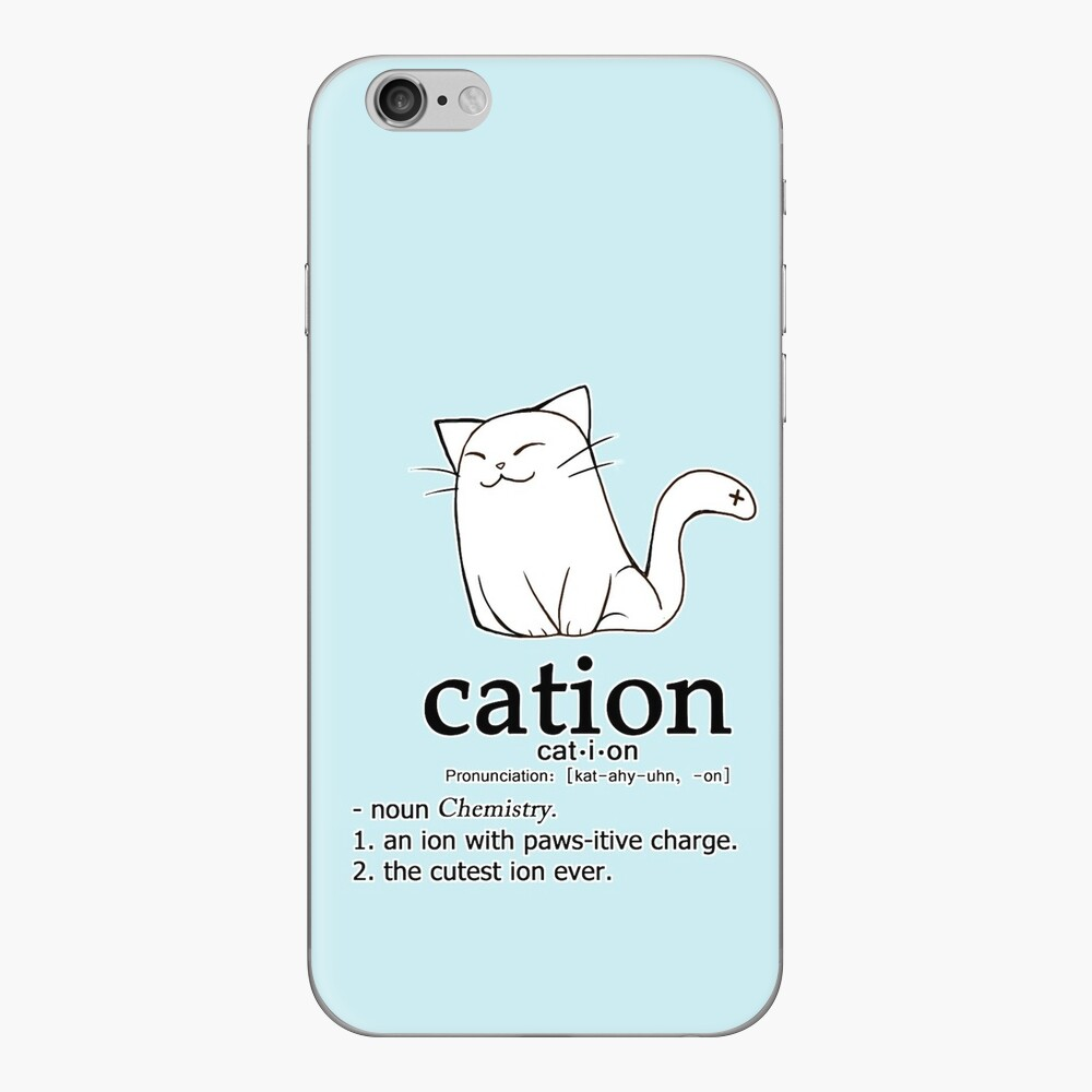 Cat-ion science puns iPhone Skin
