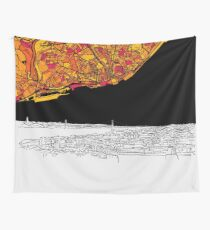 Lisbon, Portugal, Skyline Map Wall Tapestry