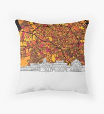 Bucharest, Romania, Skyline Map Throw Pillow