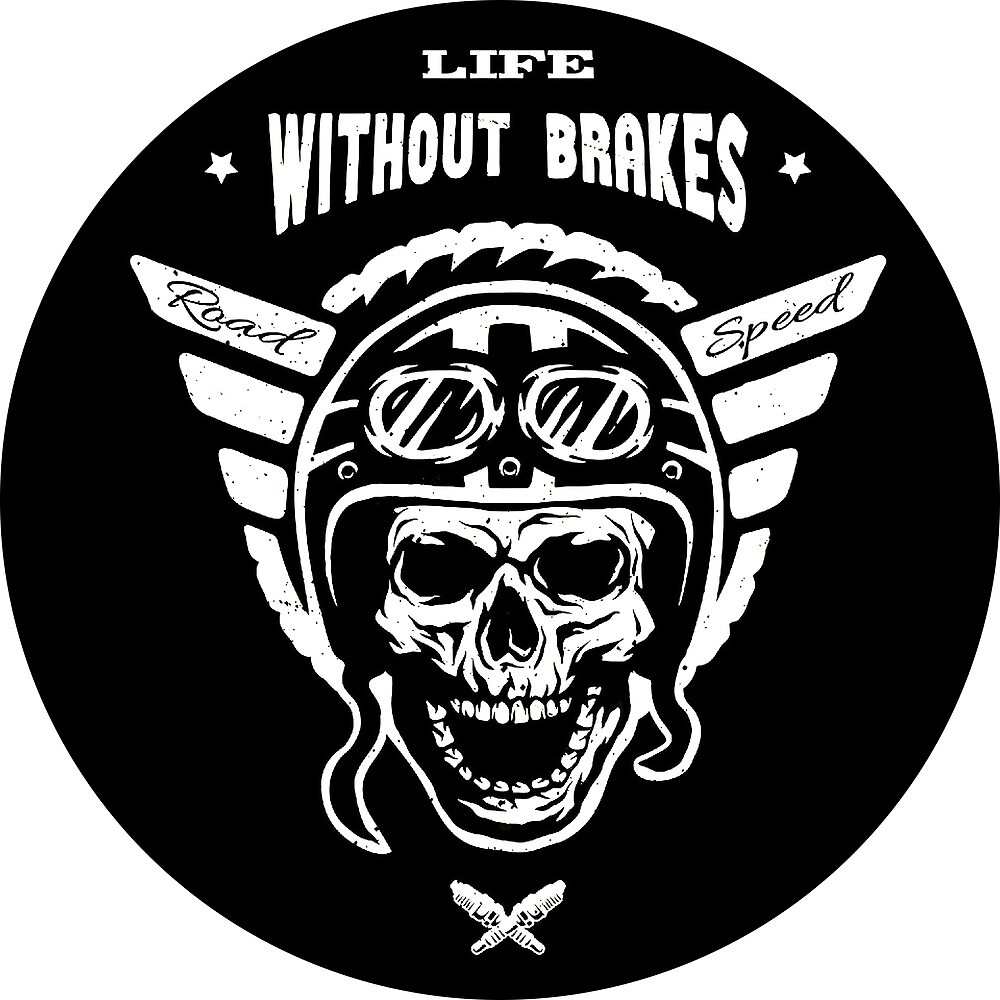 Life Without Brakes Human Skull in Helmet with Stylized Wings by AmorOmniaVincit