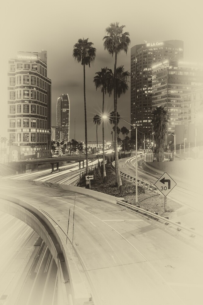 Vertical Harbor Freeway - Black and White by Nadim Baki