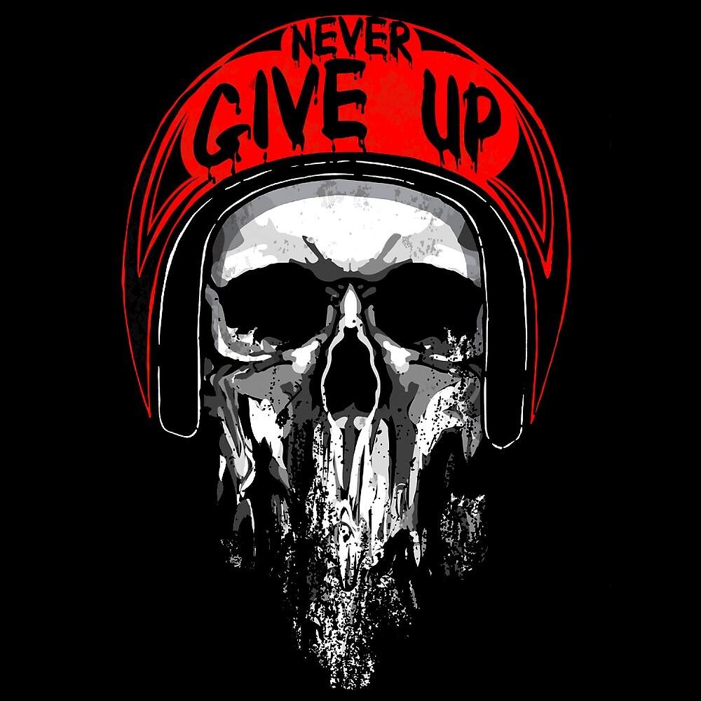 Never Give Up Skull in Red Helmet by AmorOmniaVincit