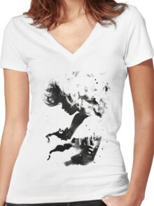 Black Cloud Women's Fitted V-Neck T-Shirt