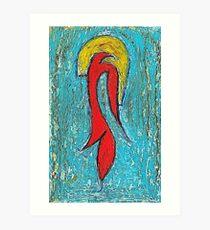 Magic Bird In A Blue Forest Art Print
