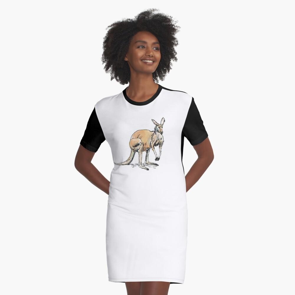 Kangaroo-in-waiting Graphic T-Shirt Dress Front