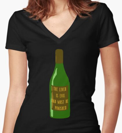 The liver is evil Women's Fitted V-Neck T-Shirt