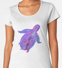 Sea Turtle in Tranquil Liquid Flowing Colors (Turquoises, Purples, Pinks, Blues) on Black Background Women's Premium T-Shirt