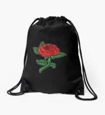 Rose Patch Black Drawstring Bag
