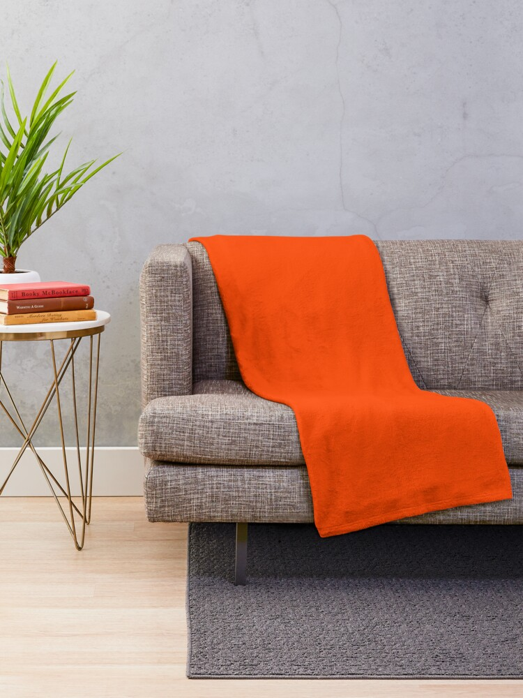 Alternate view of PLAIN ORANGE RED | SOLID COLOR ORANGE RED Throw Blanket