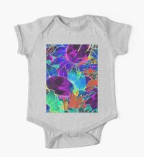 Floral Abstract Artwork One Piece - Short Sleeve