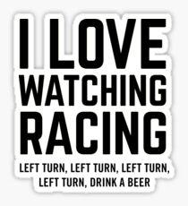 I Love Watching Racing Sticker