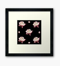 Pink Enameled Roses on a Black Background Framed Print