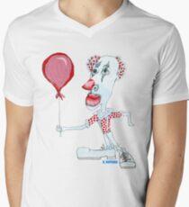 Circus Clown w. Red Ballon Men's V-Neck T-Shirt