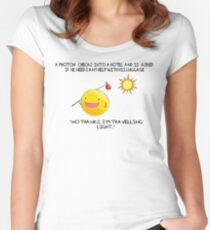 A Photon Travelling  Science Joke Women's Fitted Scoop T-Shirt