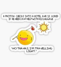 A Photon Travelling  Science Joke Sticker