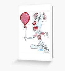 Circus Clown w. Red Ballon Greeting Card