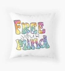 Tiedye Free Your Mind Quote Throw Pillow