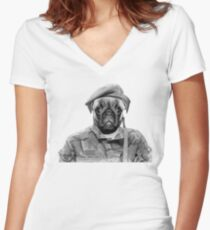 Soldier Pug Women's Fitted V-Neck T-Shirt