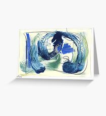 abstract painting, oil varnish pastel graphite on board Greeting Card