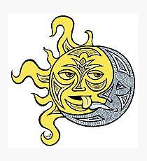 Küssende Sonne und Mond Fotodruck