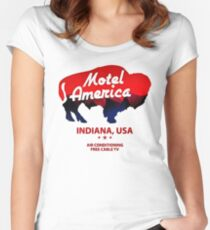 motel america Women's Fitted Scoop T-Shirt