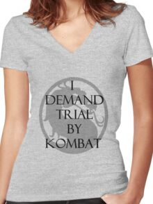 Trial by Kombat Women's Fitted V-Neck T-Shirt