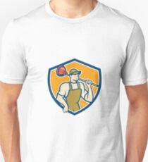 Plumber Holding Plunger Shield Cartoon T-Shirt