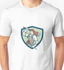 Plumber Holding Wrench Plunger Shield Cartoon Unisex T-Shirt