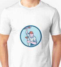 Plumber Holding Wrench Plunger Circle Cartoon Unisex T-Shirt
