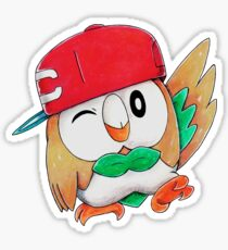 Rowlet / Mokuroh with Ash's hat Sticker