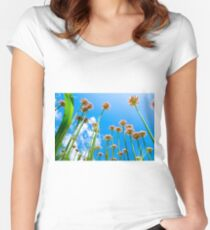 Abstract view of flowers on lovely blue cloudy sky background. Women's Fitted Scoop T-Shirt